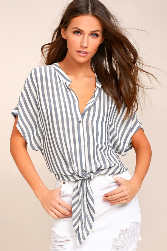 54f5b81e6e Grey and White Top -Striped Tie Front Top - Short Sleeve Top