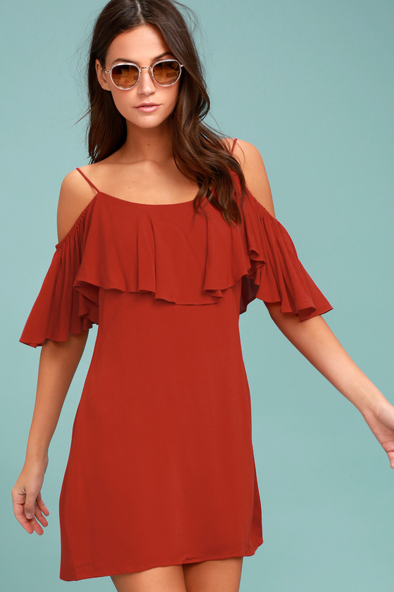 7a300e64160379 Cute Rust Red Dress - Off-the-Shoulder Dress - Shift Dress - OTS Dress