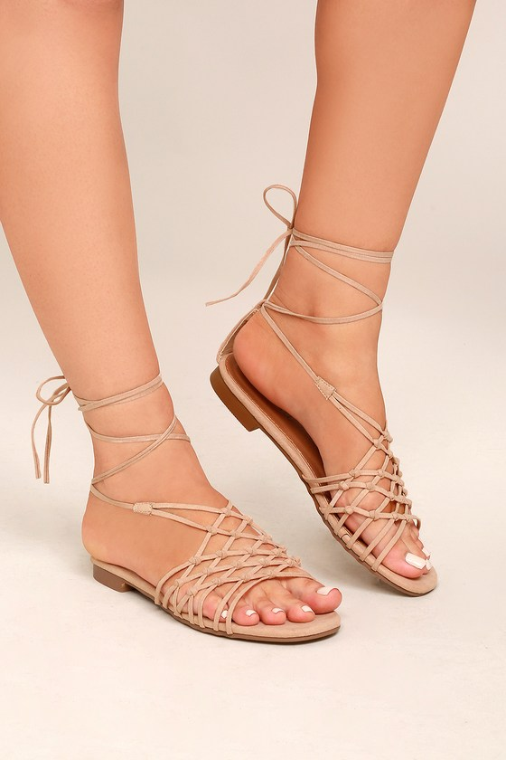 Nisse Nude Suede Lace-Up Sandals 4