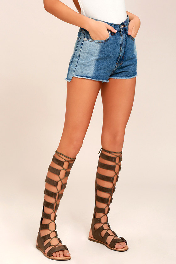 a2f9575fb7ee Boho Gladiator Sandals - Taupe Tall Gladiator Sandals - Lace-Up Flat Sandals  -  48.00