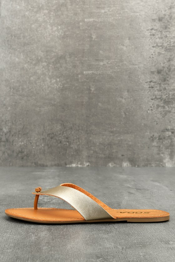 Athena Light Gold Flat Sandals 1