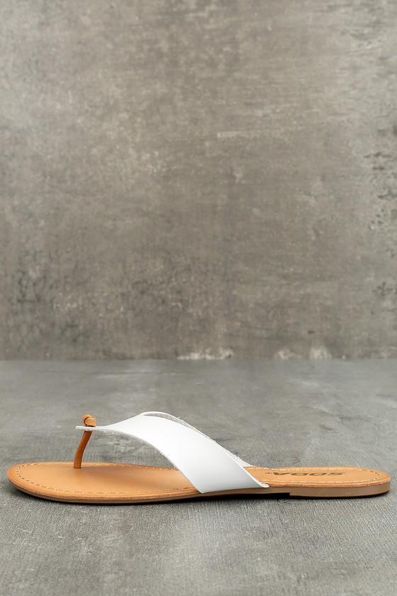 Athena White Flat Sandals 1