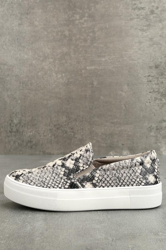75de1c1dd4f Steve Madden Gills Sneakers - Snake Print Sneakers - Flatform Sneakers