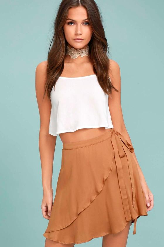 Cute Light Brown Wrap Skirt - Surplice Skirt - Skater Skirt 9b6bc6a7b