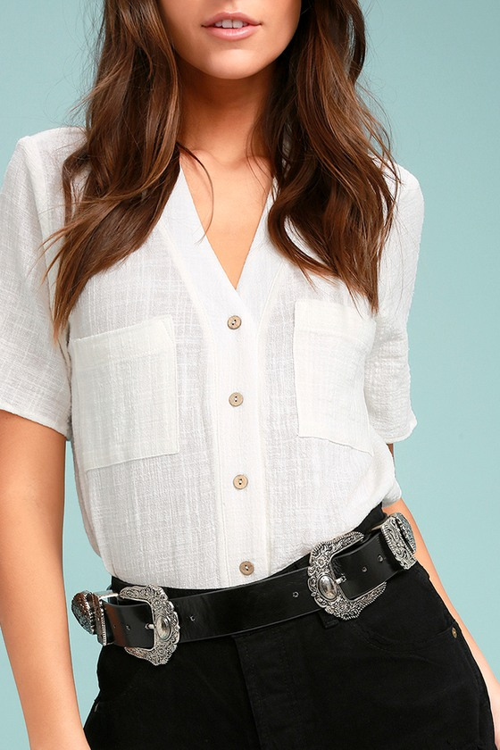 Oasis Flower Silver and Black Double Buckle Belt 3