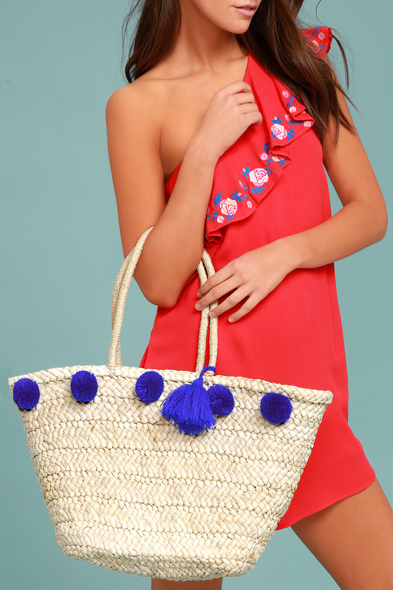 Byron Bay Beige and Blue Woven Pompom Tote 3