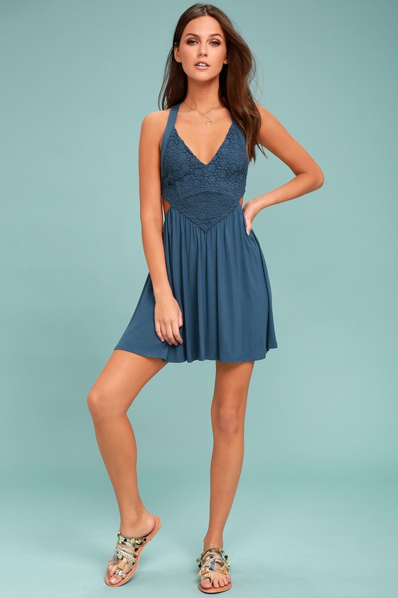 Cute Denim Blue Dress - Skater Dress - Lace Dress - Backless Dress