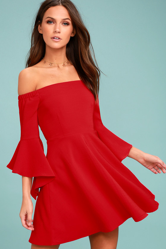 J.O.A. Mikkaa Red Off-the-Shoulder Skater Dress 2