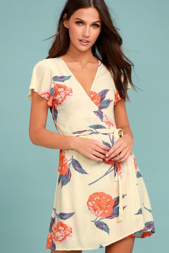 Billabong Hold Me Cream Floral Print Wrap Dress 2