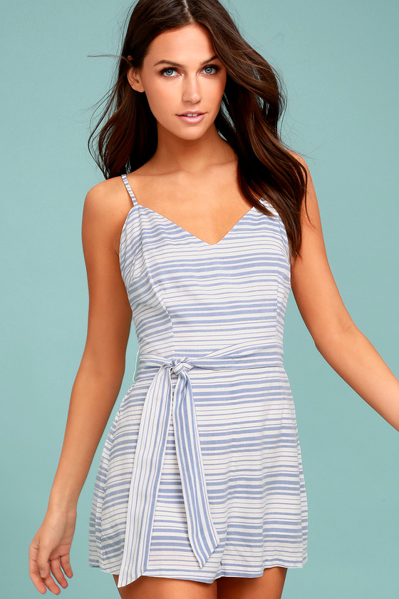 BB Dakota Gianna Blue and White Striped Romper 2