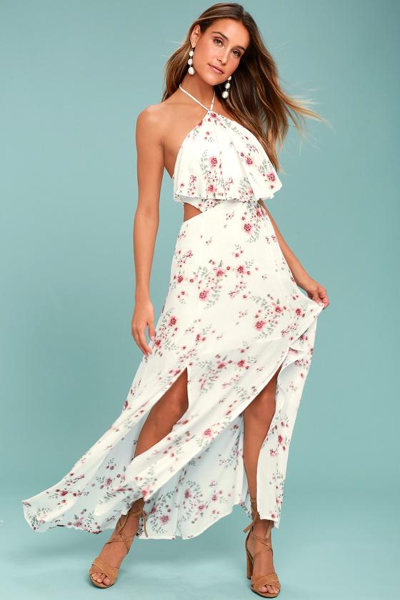 Lost + Wander Malibu White Floral Print Maxi Dress 1