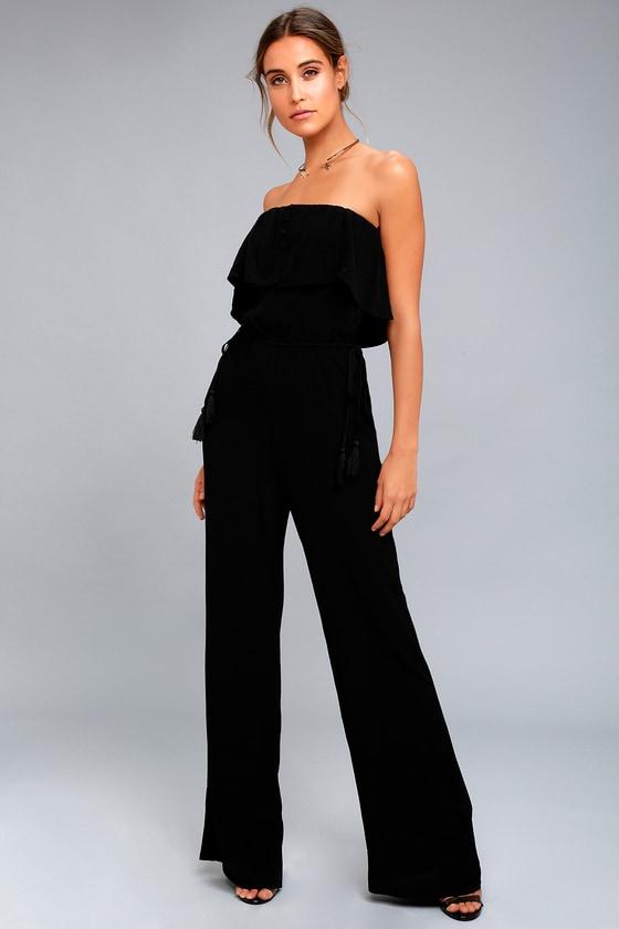 7e2f24b24b26 ASTR the Label Paloma - Black Strapless Jumpsuit - Black Tassel Jumpsuit
