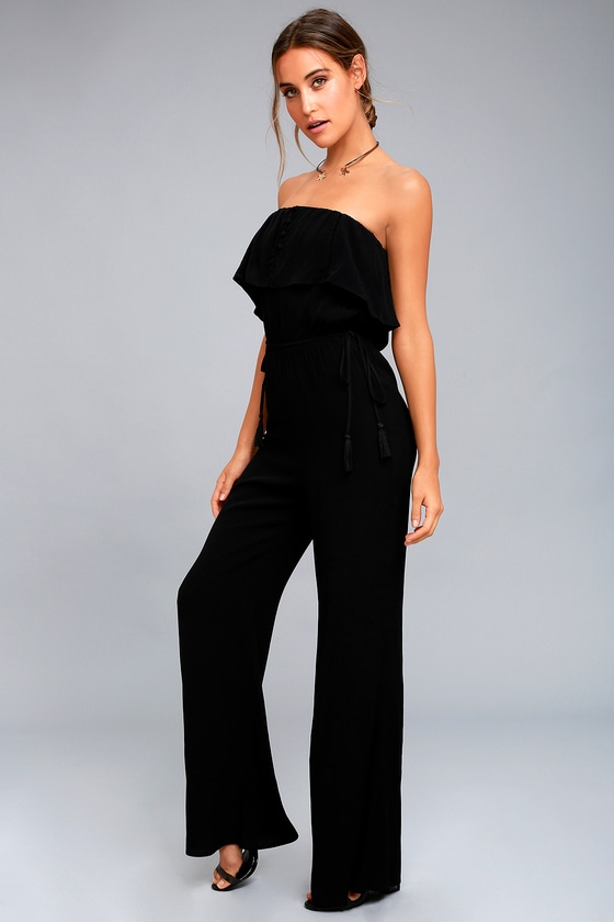 d4986339bc ASTR the Label Paloma - Black Strapless Jumpsuit - Black Tassel Jumpsuit