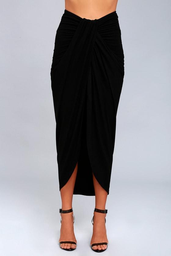 7e5c8f0a3 Black Skirt - Wrap Skirt - Maxi Skirt - Black Wrap Maxi