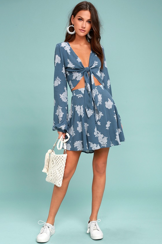 denim blue floral print skirt skater skirt floral