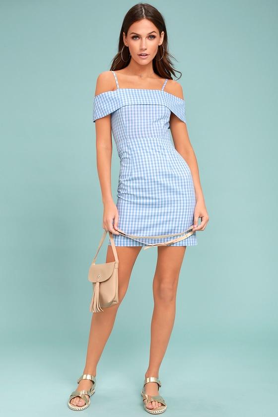 1ac88b7637 Cute Blue and White Gingham Dress - Sheath Dress - Off-the-Shoulder ...