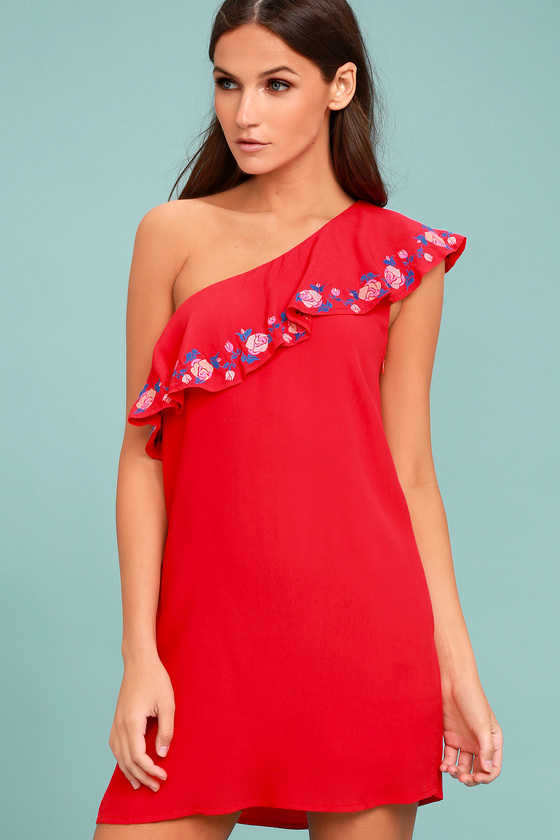 c44ded2a9e867a Cute Coral Red Dress - One-Shoulder Dress - Embroidered Dress - Shift Dress