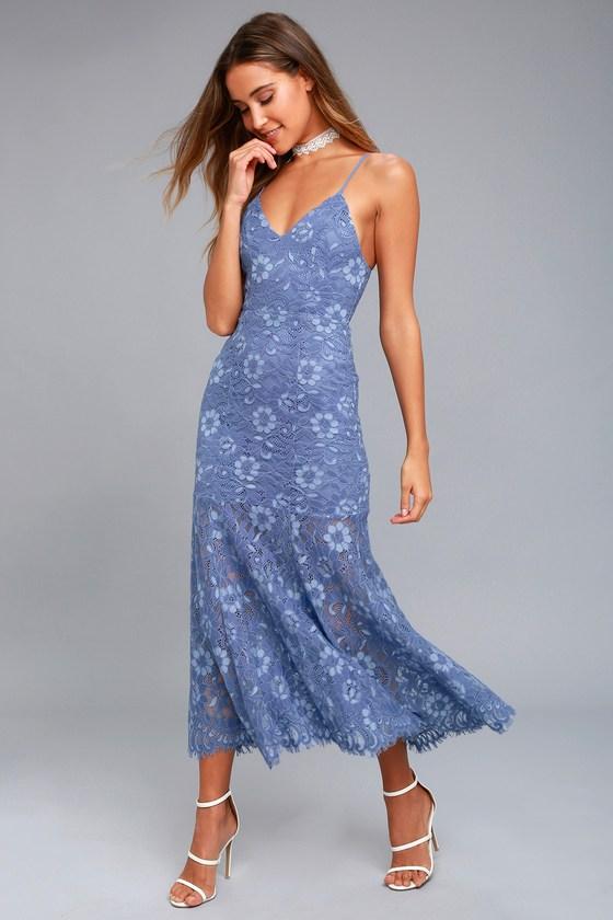 NBD Brielle Denim Blue Lace Midi Dress 1