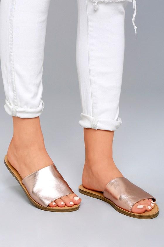 19e93392c3e Steve Madden Grace Rose Gold Sandals - Leather Slide Sandals - Metallic  Sandals -  49.00