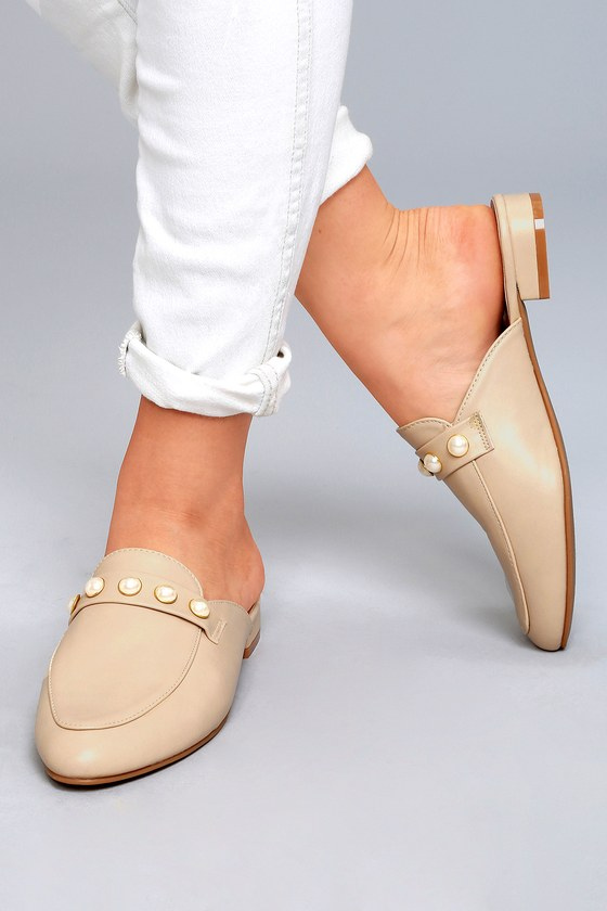 Zinnia Nude Pearl Loafer Slides 4