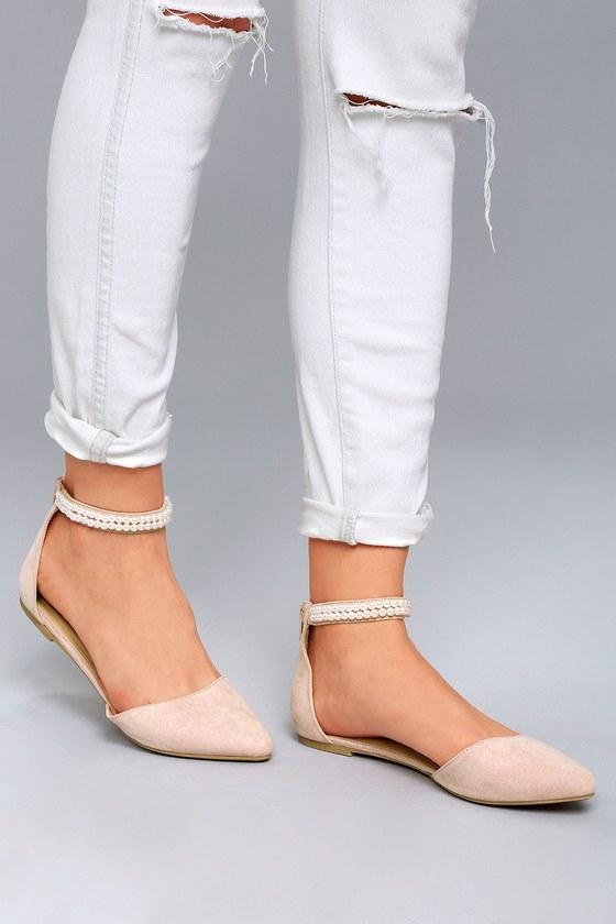 Chic Blush Pink Flats Pearl Flats Pointed Flats