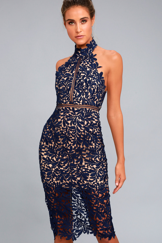Divine Destiny Navy Blue Lace Midi Dress 2