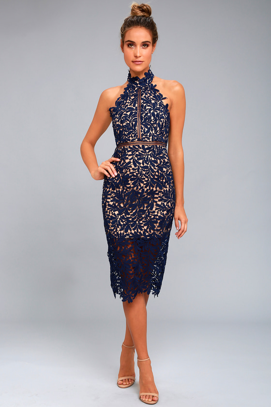 0f50f6b28f50 Stunning Navy Blue Lace Dress - Midi Dress - Lace Halter Dress