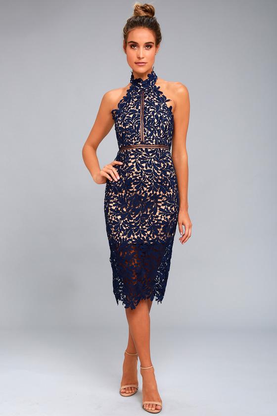 f5edcb3ec099 Stunning Navy Blue Lace Dress - Midi Dress - Lace Halter Dress