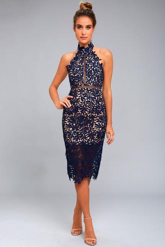 6c7476c701d Divine Destiny Navy Blue Lace Midi Dress