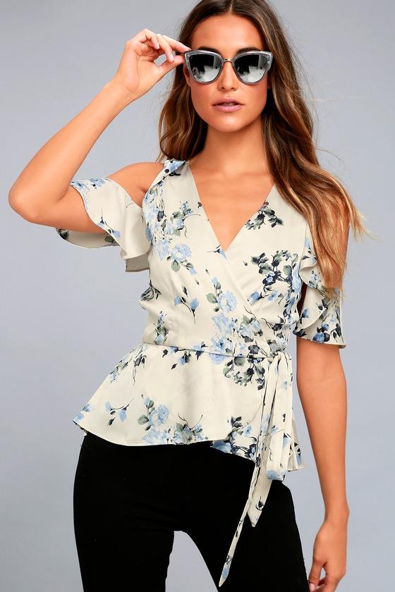 4bc1560fc3ad1 Chic Beige Floral Print Top - Wrap Top - Cold Shoulder Top - OTS Top