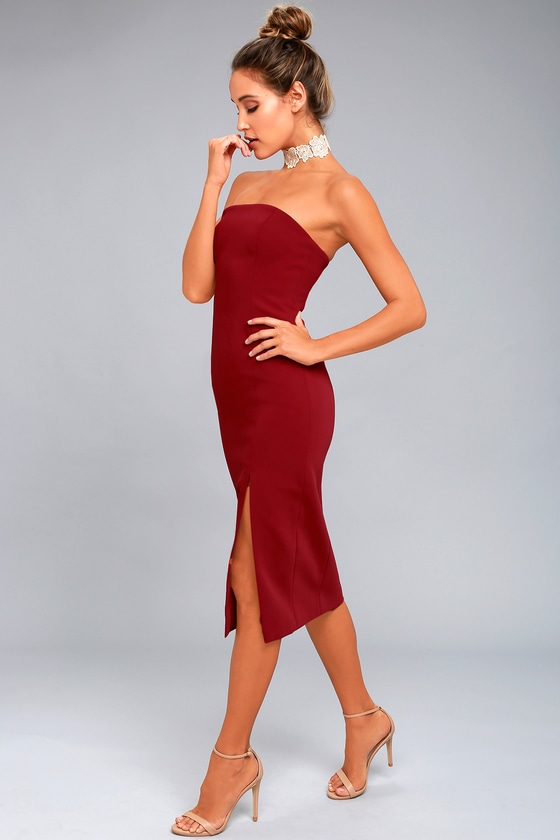 69642efaff Finders Keepers Lucie Dress - Wine Red Dress - Strapless Dress ...