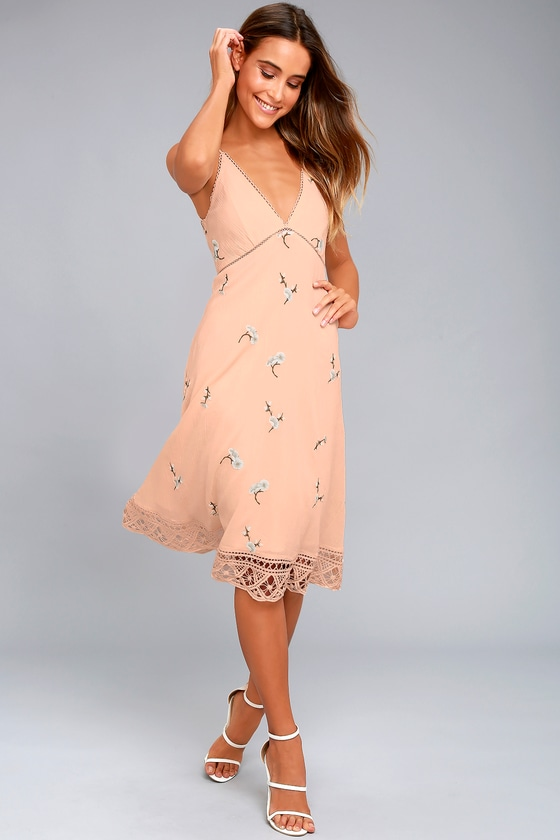BB Dakota Haleigh Peach Embroidered Midi Dress 1