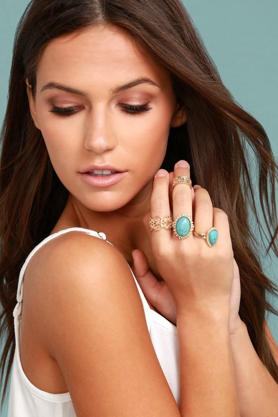 Boho Beauty Turquoise and Gold Ring Set 2