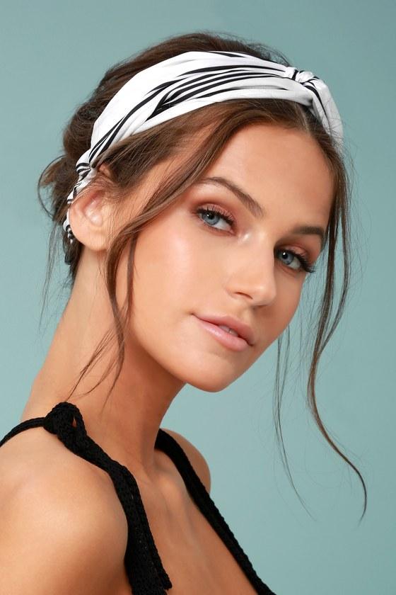 Trendy Headband - Black and White Striped Headband - Satin Headband 25cf36bcc32