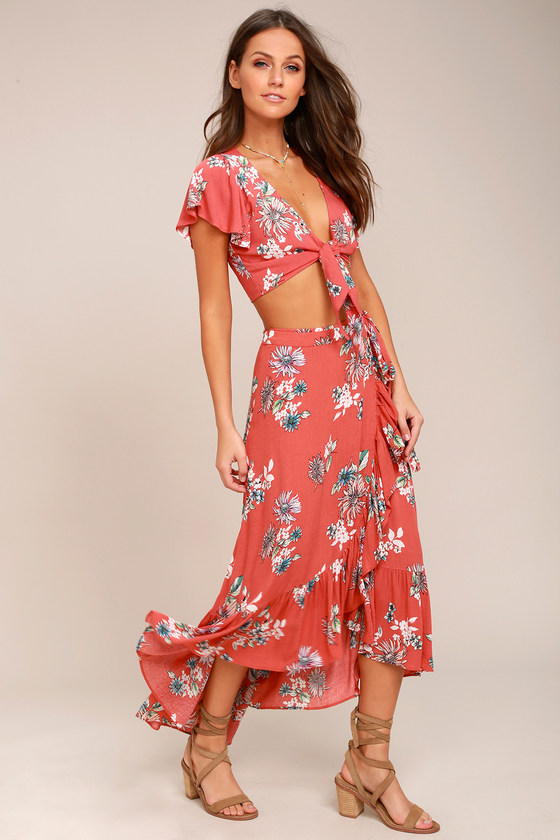 Among the Flowers Rusty Rose Floral Print Two-Piece Dress 3