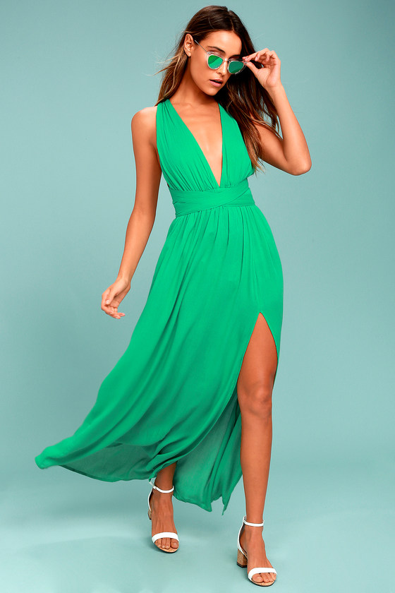 Passionate Embrace Green Halter Maxi Dress 1