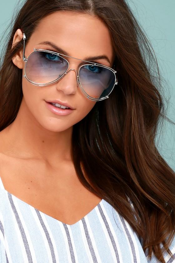 Hot Springs Silver and Light Blue Aviator Sunglasses 3