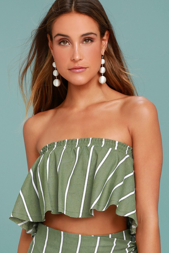 Faithfull the Brand Suns Out Olive Green Striped Strapless Top 1