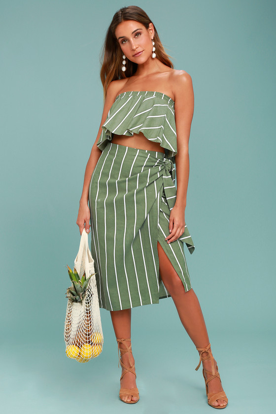 Faithfull the Brand Carlo Sage Green Striped Midi Skirt 1