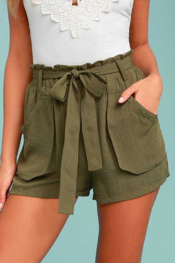 Moon River Shorts Olive Green Shorts High Waisted Shorts