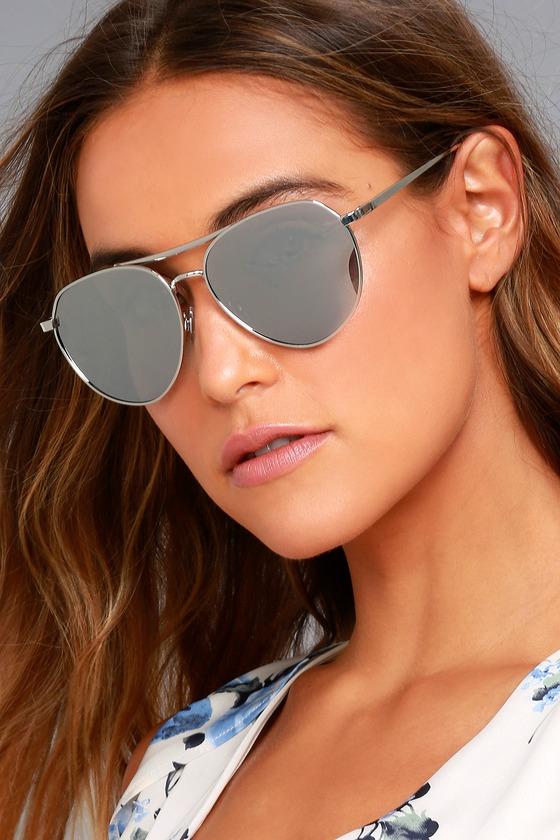 1a5276eac0 Classic Silver Aviator Sunglasses - Mirrored Sunglasses - Silver Sunglasses  -  14.00