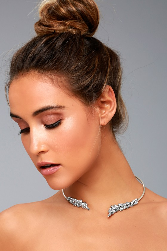 Best of My Love Silver Rhinestone Choker Necklace 1