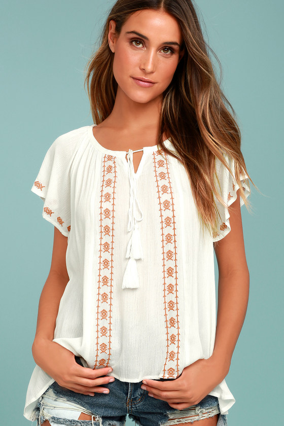 Puebla Orange and White Embroidered Top 2