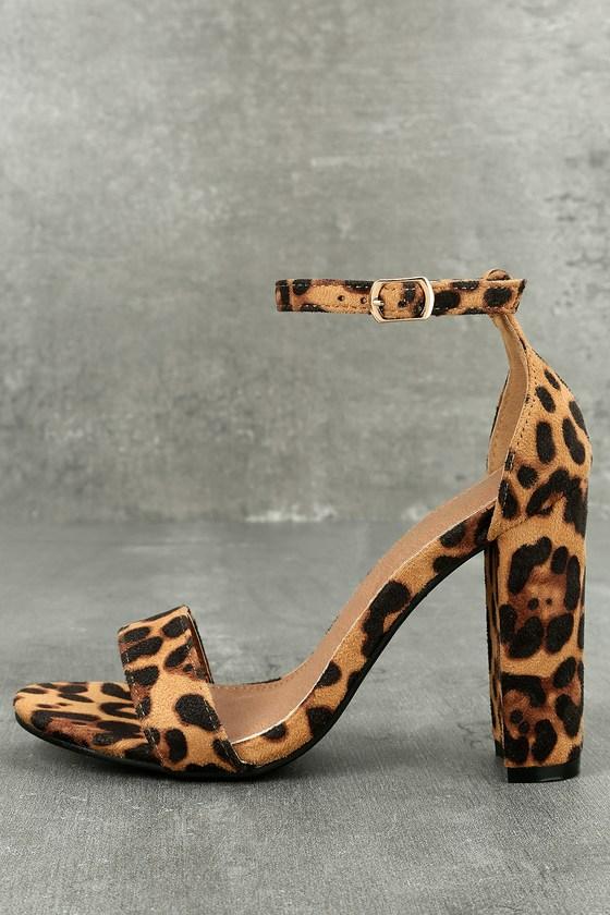 Presley Leopard Suede Ankle Strap Heels 1