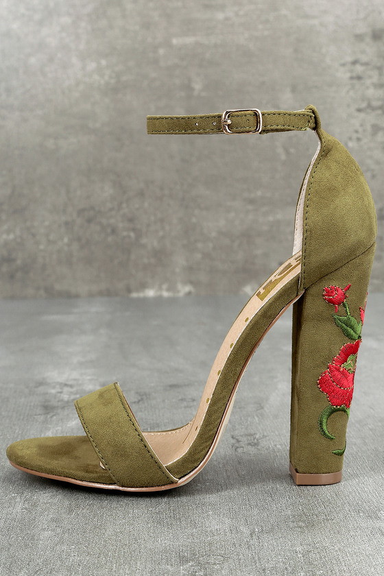 Adela Olive Suede Embroidered Ankle Strap Heels 1
