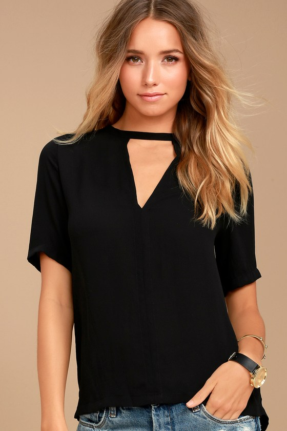 e9ae3ebc90ec Chic Black Top - Short Sleeve Top - Blouse - Short Sleeve Blouse