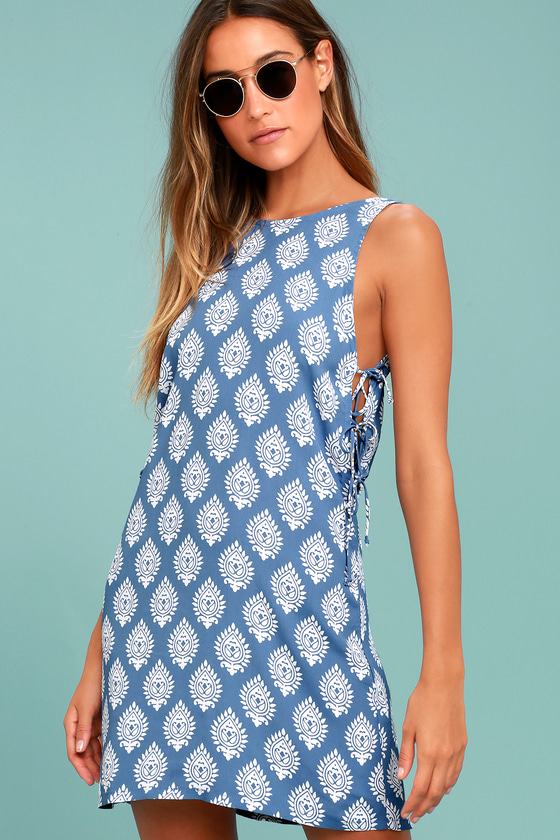 Lucy Love Daiquiri Blue and White Print Dress 1