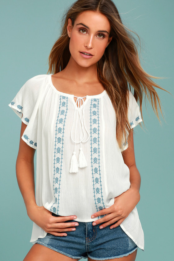 Puebla Teal and White Embroidered Top 2