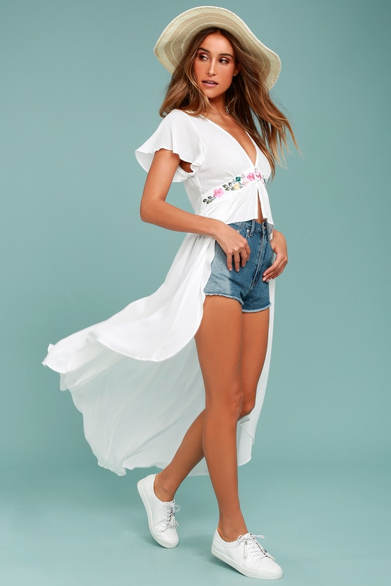 316797ab669d99 Lovely White Top - Embroidered Top - High-Low Top - Maxi Top
