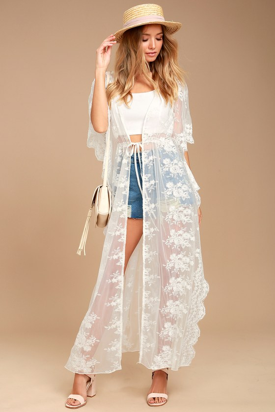 Sweet Honey White Lace Kimono Top 1